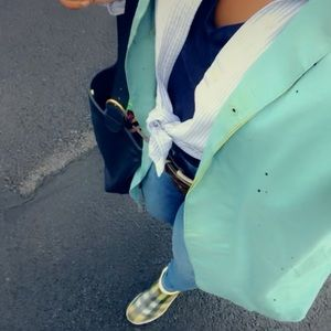 Vintage Burberry London green and blue rain coat